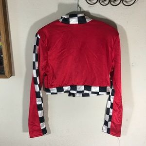 Hot Topic Tops - GIFTED Race Car Cropped Jacked Raceway Nascar